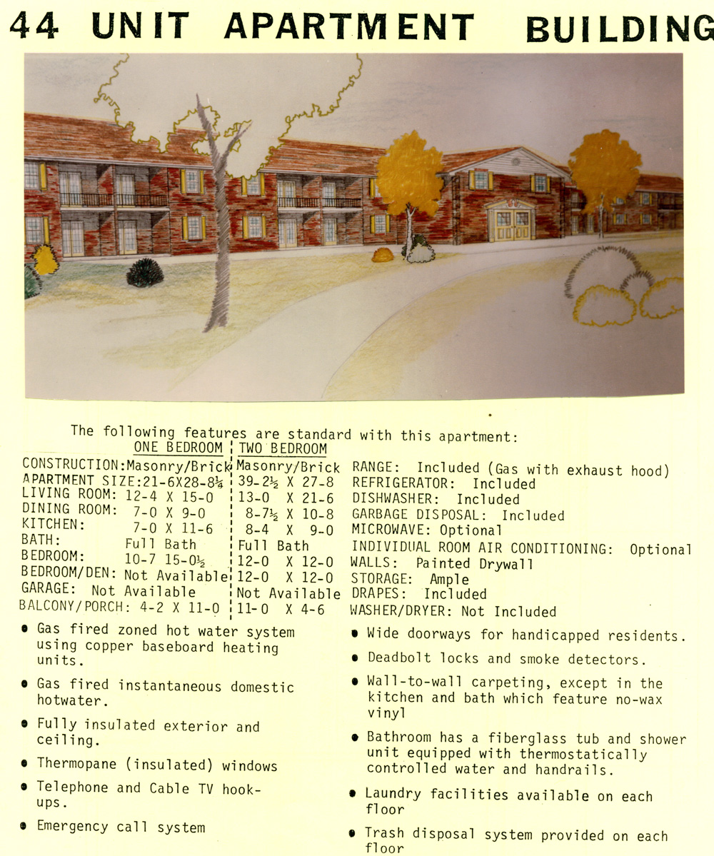Early Drawing of Planned Apartments at Laurel View Village, Davidsville, PA