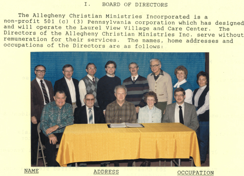 Historic Photo of Board of Directors of Allegheny Christian Ministries, Inc., Davidsville, PA