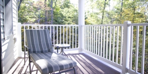 Comfortable balcony at Cambridge Place independent living apartments, Laurel View Village, Davidsville, PA